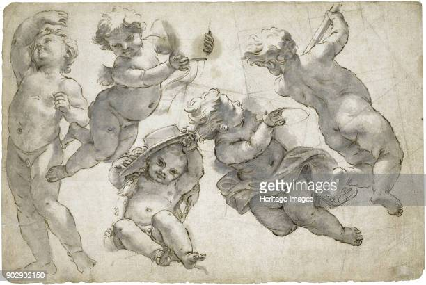 Five flying putti Private Collection