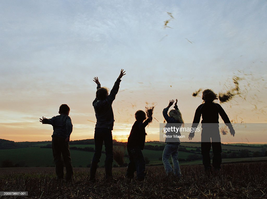 Five friends (9-11) in field, throwing hay in air, dusk : Stock Photo