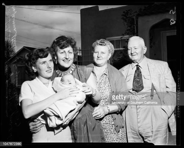 Five generations, 10 February 1957. Mrs Linda Steiner;Danni Steiner;Mrs June Baker;Mrs Javerna Stinebiser;George M Goodridge.;Caption slip reads:...