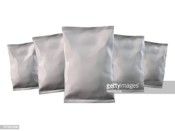 Five gray Candy/Chips bags