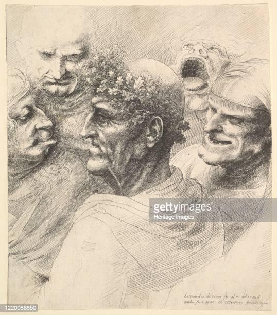 Five grotesque heads including an elderly man with an oak leaf wreath 1646 Artist Wenceslaus Hollar