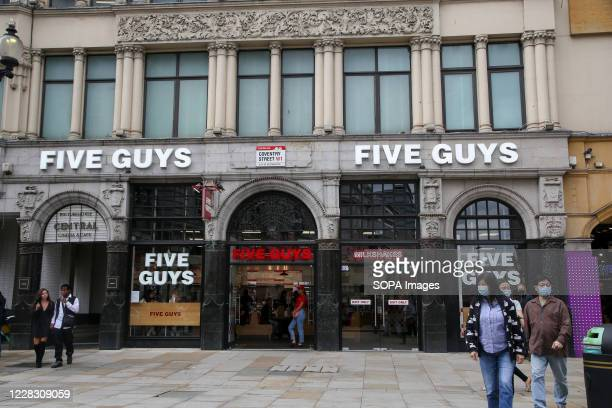 Five Guys a restaurant chain focused on hamburgers hot dogs and French fries seen in central London