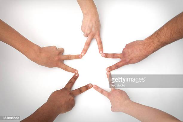 Five hands shape a star