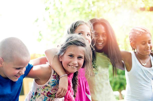 five happy children in summer - Free Children Images