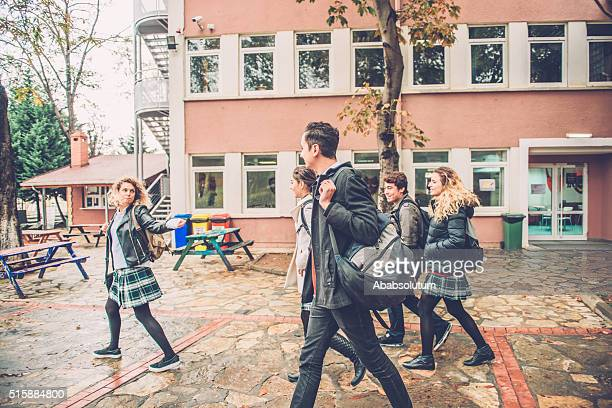 Five Happy Turkish Students Leaving School, Campus in Istanbul