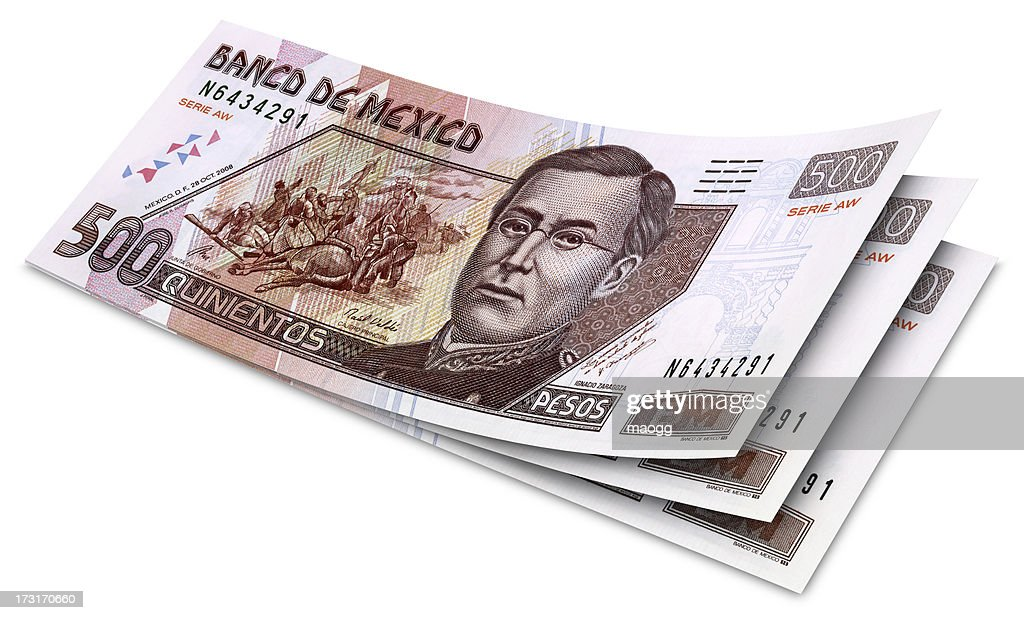 Five Hundred Mexican Pesos Banknotes : Stock Photo