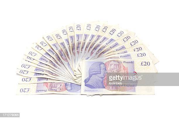 five hundred pounds isolated on white - pound sterling note stock photos and pictures