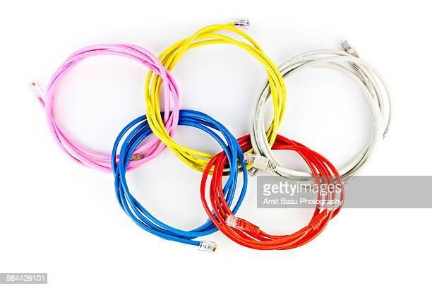 Five intertwined ethernet wires as Olypics symbol