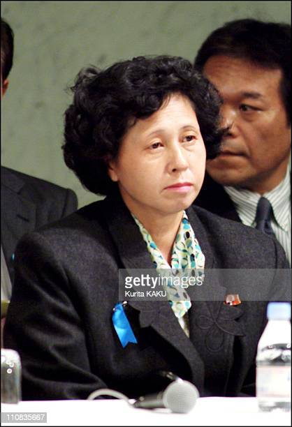 Five Japanese Citizens Abducted Almost A Quarter Of A Century Ago Returned Home To Japan In Tokyo Japan On October 15 2002 Press conference of Hitomi...