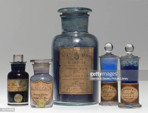 Five jars containing blue synthetic colorants Ketone Blue B manufactured by Farbwerke vormals Meister Lucius Brüning of HöchstamMain Germany...