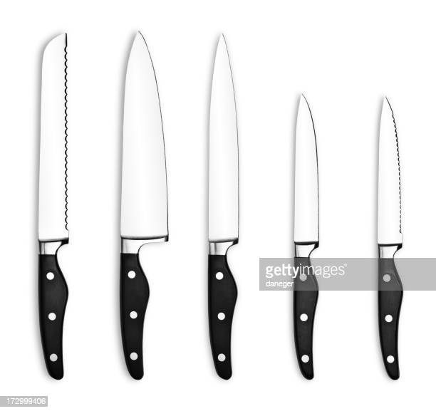 Five kitchen knives on a white background