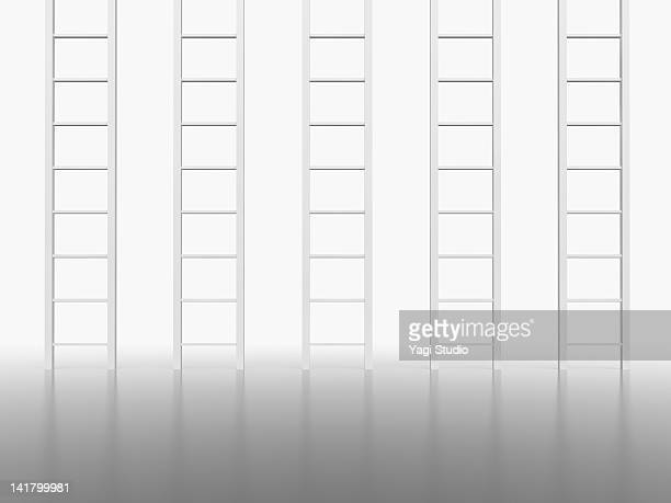 Five ladder in white space