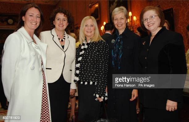 Five lady executives from Lloyds TSB attending Women in Business Reception hosted by Queen Elizabeth II at Buckingham Palace today Valentine's Day...