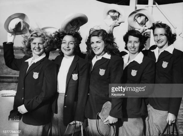 Five members of the US Olympic team arrive at Southampton in England on the 'SS America' for the 1948 Summer Olympics, the XIVth Olympiad, 21st July...