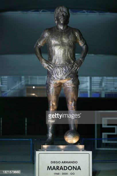 Five meters tall statue of late football legend Diego Maradona is unveiled at Estadio Unico Madre de Ciudades ahead of a FIFA Qualifier match between...