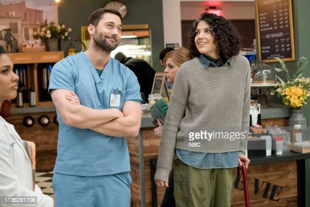 NEW AMSTERDAM Five Miles West Episode 118 Pictured Freema Agyeman as Dr Helen Sharpe Ryan Eggold as Dr Max Goodwin Christina SheaWright as Jess Walner
