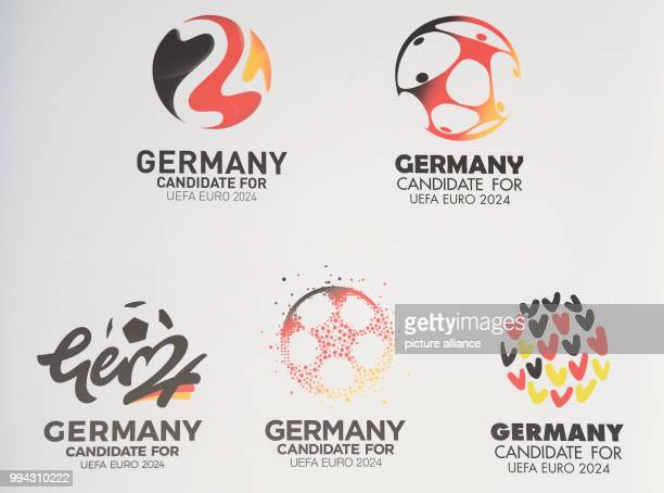 Five motifs for bid logos of the Deutscher Fussball Bund for the Euro 2024 bid displayed during a press conference in Frankfurt am Main Germany 15...