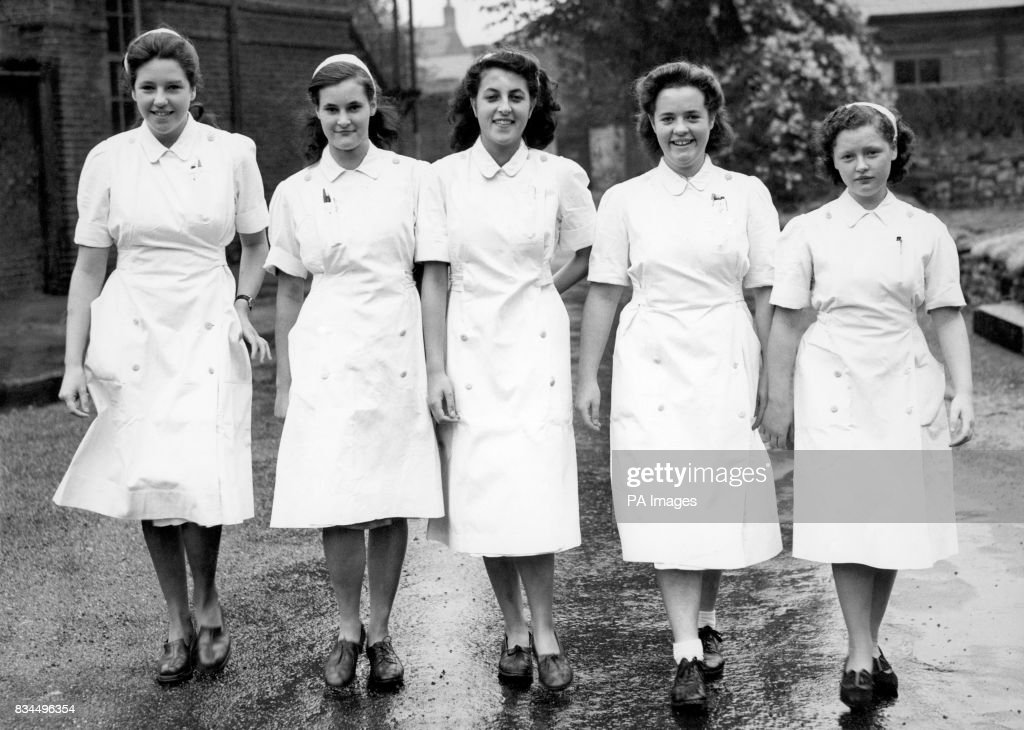 Five nurse cadets who began work at Fulham Hospital today (Wednesday) From left to right: Barbara Jay (Uxbridge); Marina Harris (East Sheen) Lorna Coker (West Kensington); Sigrid Brewington (Thames Ditton) and Peggy Belmont. The cadet scheme was initiated by the Kensington & Fulham Hospital Group.