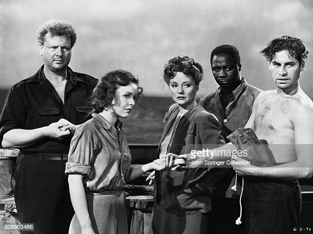 Five of the characters in Hitchcock's Lifeboat: Willy , Alice MacKenzie , Constance Porter , George Spencer , and John Kovac .