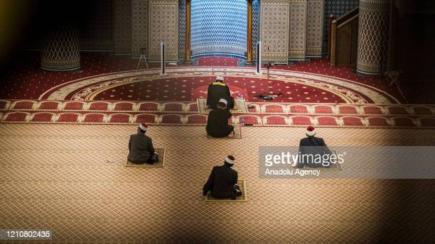 Five official members of the National Mosque perform the first Tarawih Prayer for Ramadan this year at the National Mosque, Kuala Lumpur, Malaysia on...