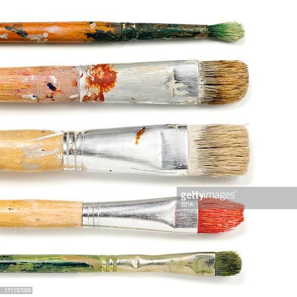 cinco paintbrushes no branco - cinco objetos - fotografias e filmes do acervo