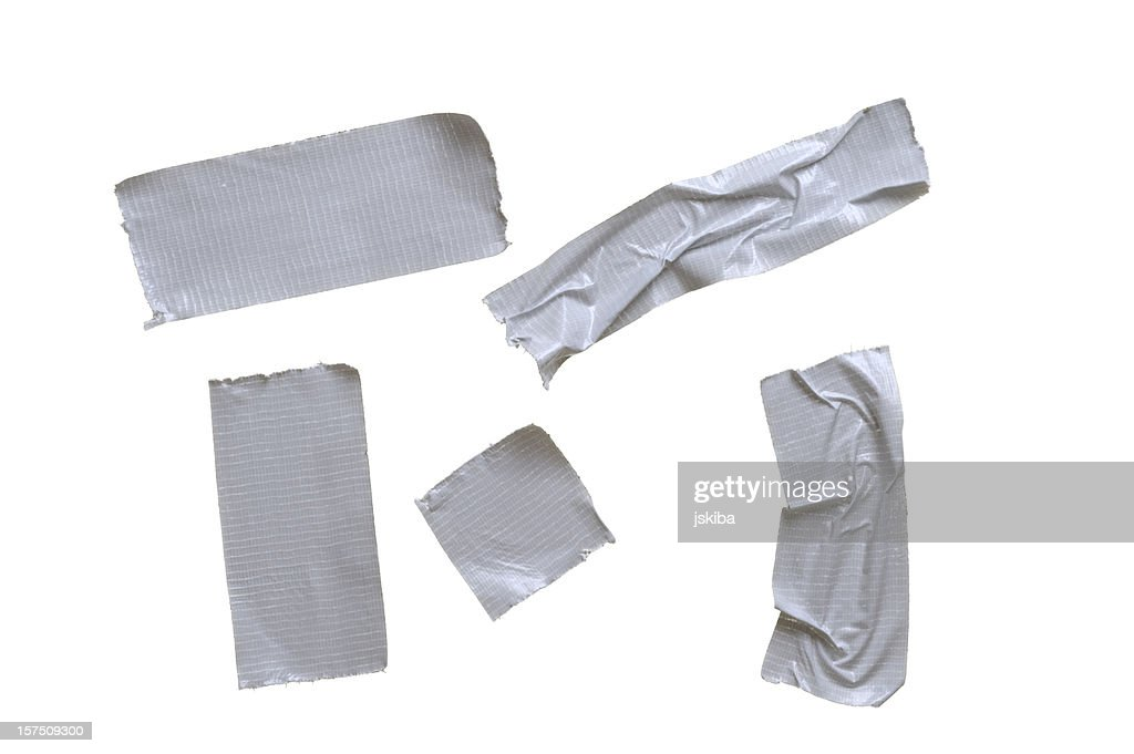 Five pieces of duct tape on pure white background : Stock Photo