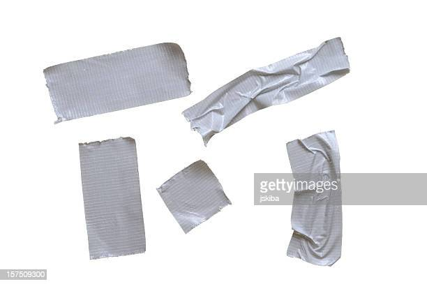 Five pieces of duct tape on pure white background