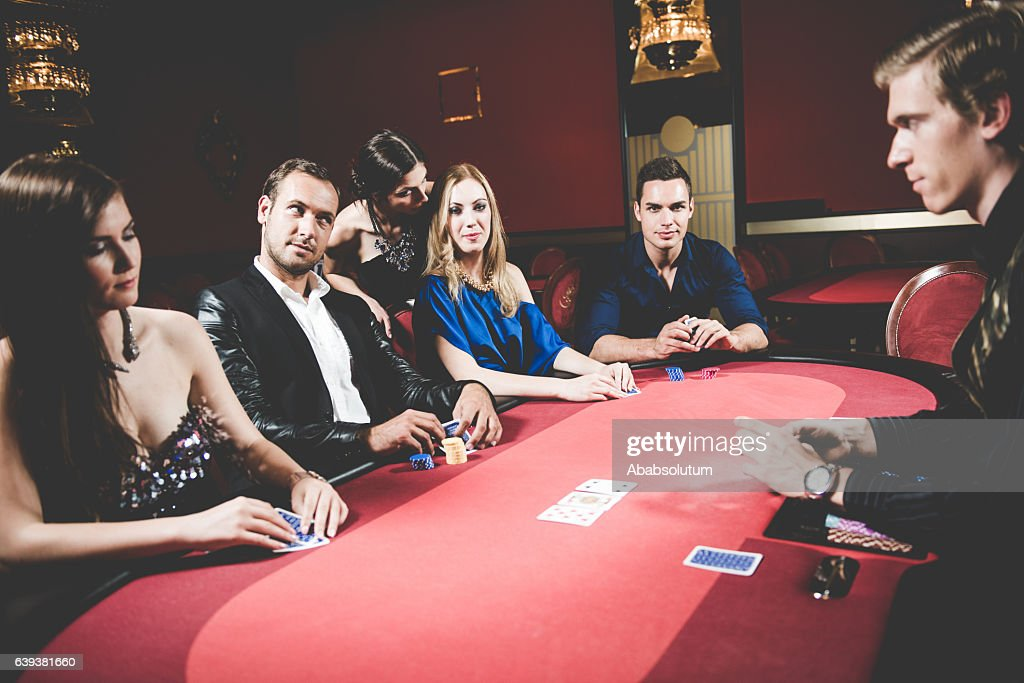 Five Poker Players and Dealer at the Casino, Portorose, Europe : Stock Photo