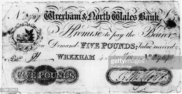 A five pound note issued by the Wrexham North Wales Bank dated 4th January 1844