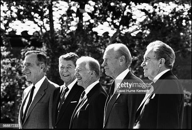 Five Presidents at the Reagan Library opening President George H W Bush former presidents Ronald Reagan Jimmy Carter Gerald Ford and Richard Nixon in...