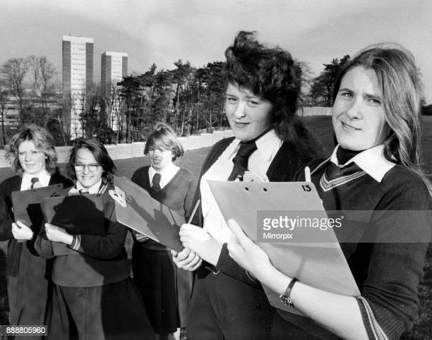 Five pupils at Hodge Hill Girls School Birmingham who are completing a project on high rise flats for their SE Left to right Mary McNulty Gail...