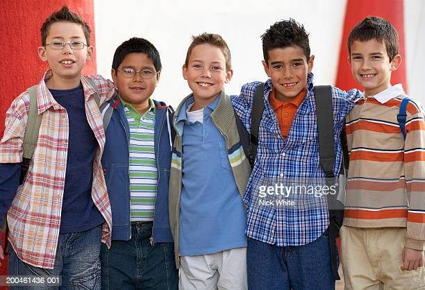 five school boys (8-10) smiling, portrait - only boys stock pictures, royalty-free photos & images