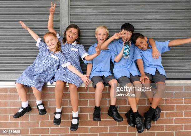 Five school friends sitting on brick wall pulling faces and smiling towards camera