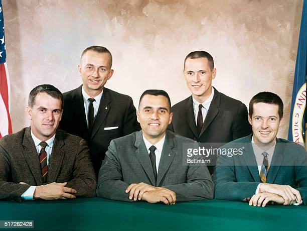 Five scientistastronauts whose selection was announced by the National Aeronautics and Space Administration on June 29 1965 Front row are physicist F...
