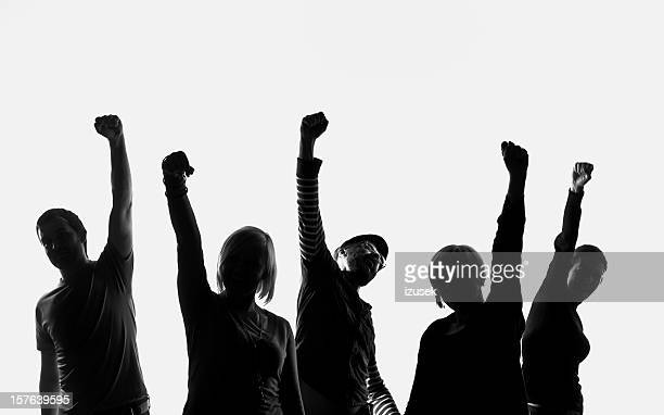 five silhouettes of people - five people stock pictures, royalty-free photos & images