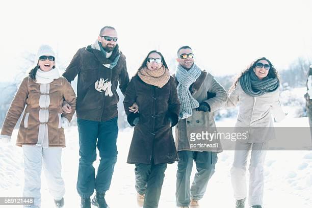 Five smiling people having fun in the snow