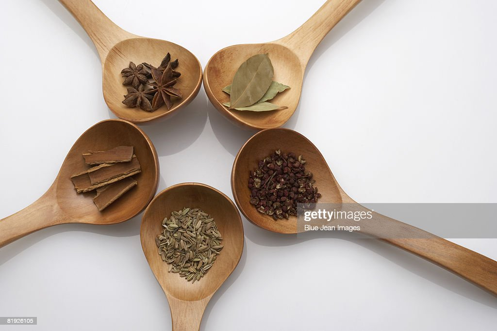 Five spoons filled with Chinese herbs : ストックフォト