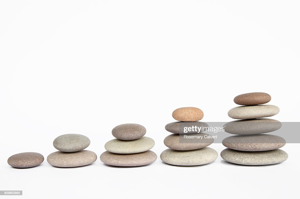 Five stacks of pebbles : Stock Photo