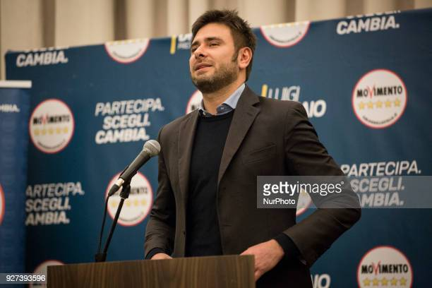 Five Star Movement Alessandro Di Battista arrives for a short press conference after polling stations closure at the electoral headquarters of...