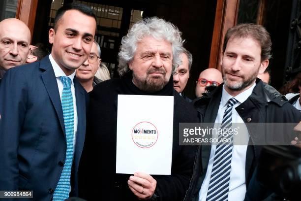 Five Star Movement leader Luigi Di Maio poses with movement's founders Beppe Grillo and Davide Casaleggio outside the Interior Ministry on January 19...