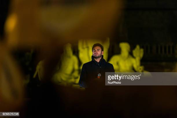 Five Star Movement political party deputy Alessandro Di Battista attends a political meeting organized by the antiestablishment party for the...