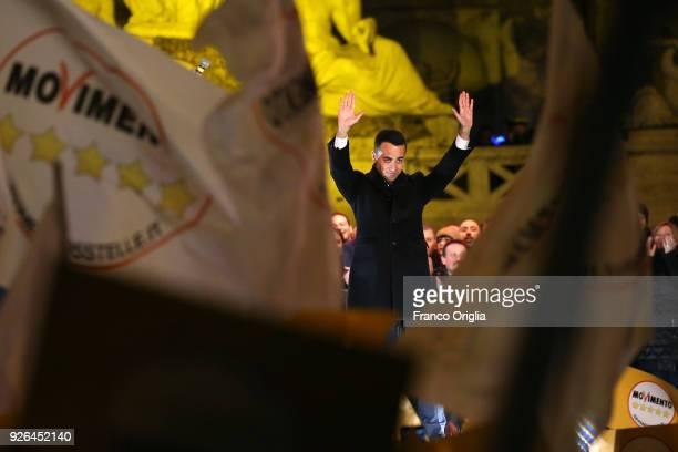 Five Star Movement's candidate for Italian premier Luigi Di Maio attends the closing electoral rally of Five Star Movement at Piazza del Popolo on...