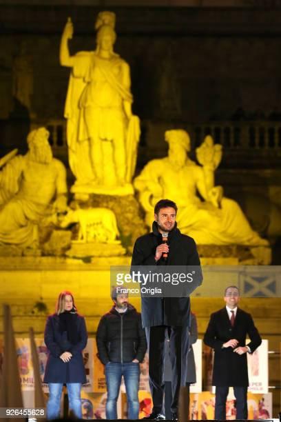 Five Star Movement's deputy Alessandro Di Battista attends the closing electoral rally of Five Star Movement at Piazza del Popolo on March 2 2018 in...