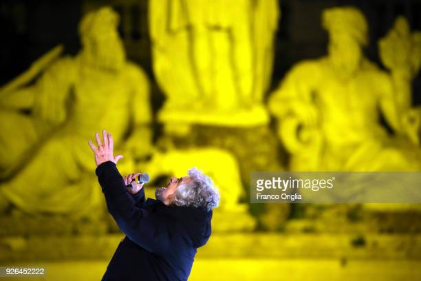 Five Star Movement's founder Beppe Grillo attends the closing electoral rally of Five Star Movement at Piazza del Popolo on March 2 2018 in Rome...