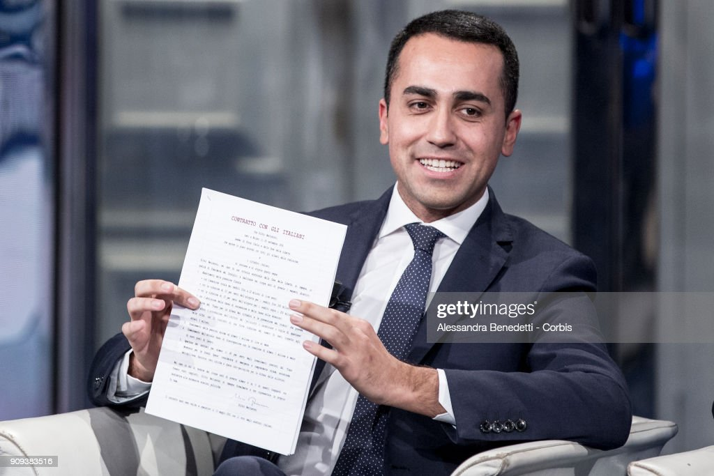 Five Stars Movement Candidate Luigi di Maio Attends Broadcast Debate Show Porta a Porta