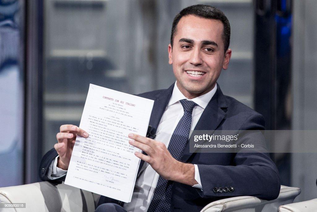Five Stars Movement Candidate Luigi di Maio Attends Broadcast Debate Show Porta a Porta