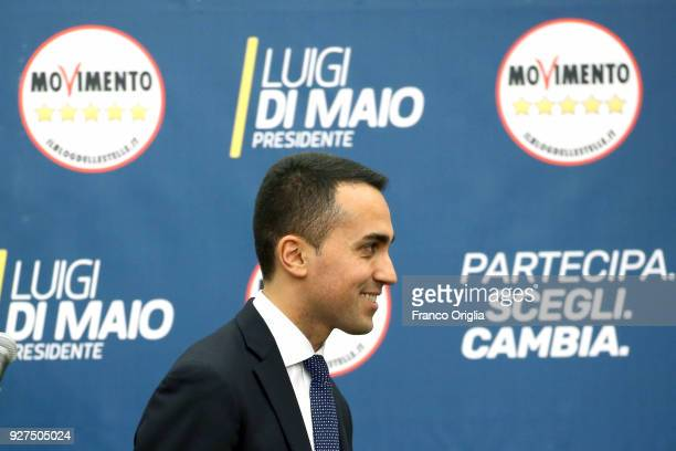 Five Stars Movement candidate premier Luigi Di Maio arrives at the Five Stars electoral headquarter on March 5 2018 in Rome Italy Provisional results...
