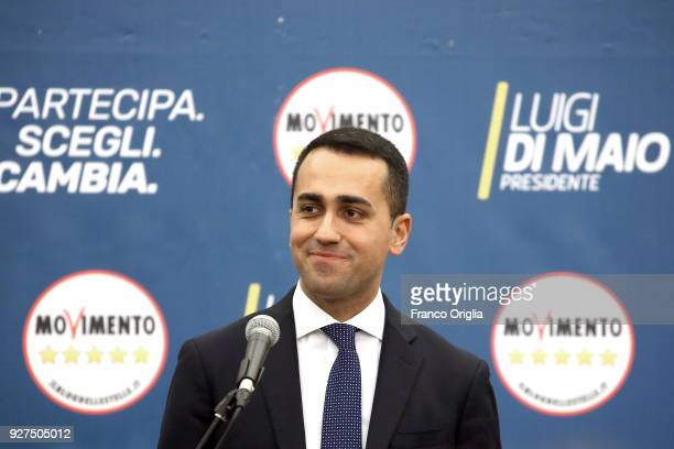 Five Stars Movement candidate premier Luigi Di Maio attends a press conference at the Five Stars electoral headquarter on March 5 2018 in Rome Italy...