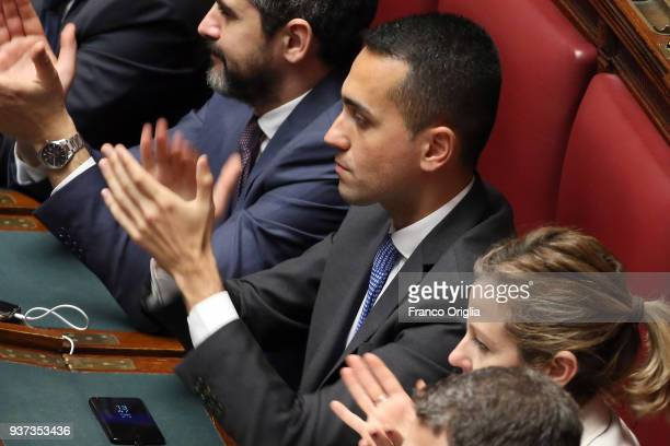 Five Stars Movement deputies and their leader Luigi Di Maio applaud at Palazzo Montecitorio as their candidate Roberto Figo has been elected as new...