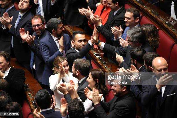 Five Stars Movement deputies and their leader Luigi Di Maio exult at Palazzo Montecitorio as their candidate Roberto Figo has been elected as new...